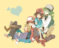 Gary, Red, N, and Hilbert Pokemon Sketch, Pokemon Firered, Pokemon Ships, Black Pokemon, Pokemon Comics, Pokemon Fan Art, Pikachu Drawing, Pokemon Game Characters, Pokemon Photo