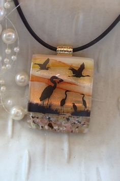 Dichroic Glass Pendant Fused Glass Jewelry by myfusedglass on Etsy, $28.00