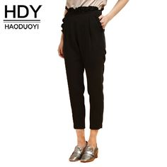 Aliexpress.com : Buy HDY Haoduoyi Fashion Ruffles Pants Women High Waist Female Harem Pants Street Sweet Solid Black Elastic Waist Casual Pants from Reliable fashion pants women suppliers on NEW FASHIONS