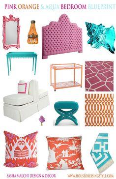Playroom palette? House Dressing Style: Design Blueprint: Aqua, Pink & Orange Bedroom