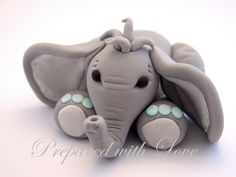 Elephant Fondant Cake Topper by Prepared with Love, via Flickr from www.preparedwithlove.co.uk £8 Perfect for birthdays and christenings