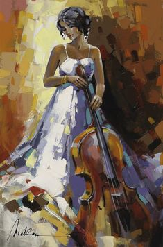 Browse Artwork by Anatoly Metlan - Park West Gallery Woman Painting, Figure Painting, Cello, Clay Wall Art, Art Watercolor, Dance Paintings, Figurative Art, Diy Art, Contemporary Art