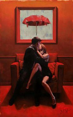 Available for sale from LaMantia Fine Art Inc., Daniel Del Orfano, Anticipation, Original Oil on Canvas, 54 × 35 in Piskel Art, Fabian Perez, Jack Vettriano, Romance Art, Pulp Art, Couple Art, Couple Ideas, Love Drawings, Erotic Art