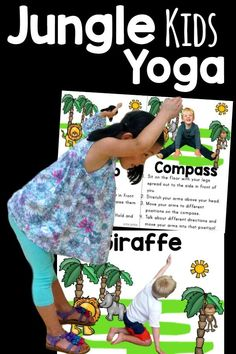 Jungle themed yoga cards and printables!  I love how these kids yoga cards have real kids in the poses.  These are great for your animal lovers or a jungle theme or unit!