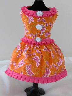 Spring Hot Pink and Orange  Dog Dress  Dog or Cat  Harness Custom Made by graciespawprints on Etsy