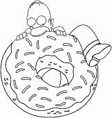 coloring picture of Homer wants to eat an enormous donut