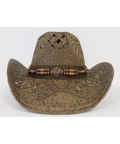 50ba60a1e3a95 Western Hat   Amber Stone Look with Wood Beads   Brown CB11DVHHK77