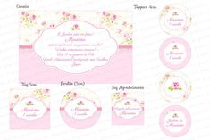 Kit Digital Floral Rosa e Branco