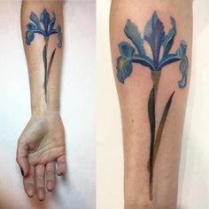 Delicate Iris tattoo - by Rita Zolotukhina