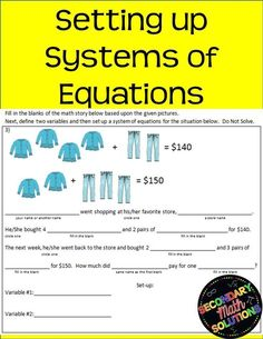 Don't our students just hate word problems - especially when systems are involved? Well, this notes page on setting up systems of equations will help them EASE into it and see that word problems really aren't that bad. Math Lesson Plans, Math Lessons, High School Algebra, Algebra 1, Math Resources, Classroom Resources, Problem Set, Systems Of Equations, Secondary Math