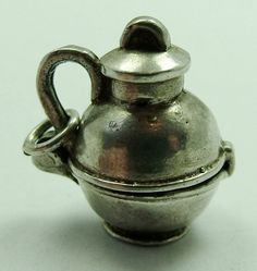 1970's Silver Opening CHIM Charm Milk/Cream Can Cow Inside
