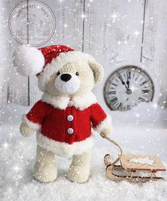 Free pattern for a small, sitting teddy bear Materials:- Worsted weight yarn - approx. Crochet Wool, Crochet Bear, Free Crochet, Amigurumi Doll Pattern, Tiny Teddies, Cute Teddy Bears, Easy Crochet Patterns, Stuffed Toys Patterns, Christmas Hat
