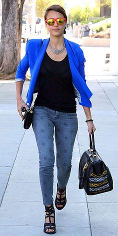 "Current/Elliott gray star-print ""Stiletto"" jeans, Kate Frances blazer, house of Lavande Vintage necklace, Cobra Society handbag and strappy black sandals (aug 2012)"