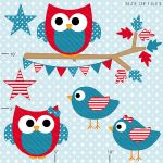 4th of July Hoots and Tweets Clipart - red, white and blue clipart for your craft and creative projects.