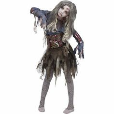 Zombie Child Halloween Costume, Girl's, Size: M (8-10), Gray