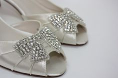 Handmade Wedding Shoes  Crystal Bow  Short Heel  by Parisxox, $156.00