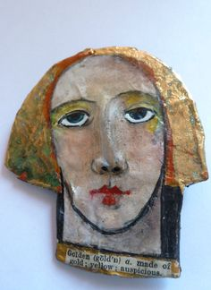 One of a kind papier mache brooch/ornament by mycuriousteaparty, $23.00