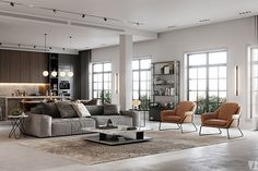 Modern apartment in Berlin - Dezign Ark (Beta) Apartment Interior Design, Modern Interior Design, Interior Design Inspiration, Interior Design Living Room, 3d Living Room, Home And Living, 3d Max Vray, Appartement Design, 3d Models