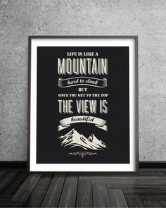 Life Mountain Retro Motivational Quote Poster  by BlackPelican