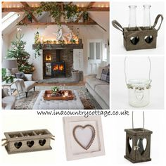 Fabulous Fireplace Will Make Your Home More Classy - The Urban Interior Shabby Chic Kitchen Accessories, Christmas Living Rooms, Shabby Chic Christmas, Shabby Chic Homes, All Things Christmas, Christmas Time, Country Style, Living Room Decor, Christmas Decorations