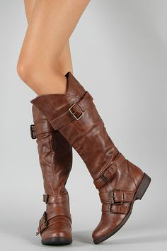 Bamboo Montage-06 Buckle Riding Knee High Boot