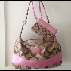 Coach Beige/brown/ pink purse and small purse both for ....Firm!  I only used it about two times! Coach Bags