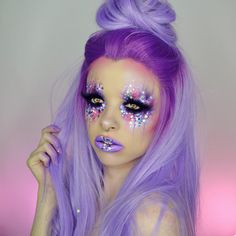 Messy purple space princess ✨ finallyyyyyy feeling better what looks would you like to see this week?! (Used @starcrushedminerals pigments in the purple one, lilac locks and audacious plum (code KIMBERLEY for 50% off), @nyxcosmetics ultimate brights palette and liquid lipstick in sway, star glitter from @shineshack, wig is from @evahairofficial) hope you're having the best day ✨✨✨✨