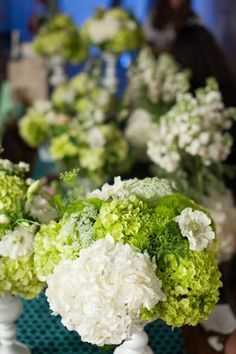 Green and White Hydrangea with Queen Anne's Lace balance the Navy and turquoise color scheme