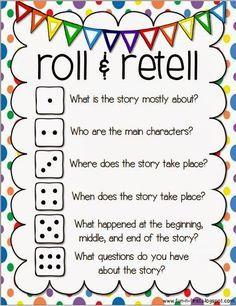 Teach Your Child to Read - An Apple For The Teacher: Roll and Retell - Building Summarizing, Communication, and Writing Skills - Give Your Child a Head Start, and.Pave the Way for a Bright, Successful Future. Reading Workshop, Reading Skills, Writing Skills, Teaching Reading, Teaching Ideas, Writing Strategies, Partner Reading, Writing Prompts, Reading Level Chart
