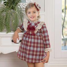 Dolce Petit - Girls Red Polycotton Dress | Childrensalon Tulle Bows, Girls Dresses, Flower Girl Dresses, Check Dress, Baby Style, Girl Style, Winter Dresses, Baby Dress, Designer Dresses