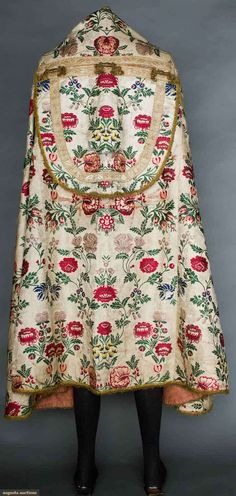 Silk Brocade Cope - Patterned ivory silk background brocaded with red & lilac flowers, and green foliage - Russian - 1750-1775 - Back View