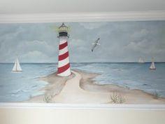 lighthouse nursery mural