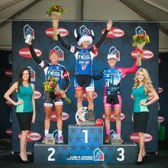 Nice hat! The top three after the time trial at the Women's USA Pro Challenge