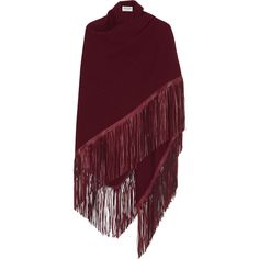 Barbajada Fringed leather and cashmere wrap ($925) ❤ liked on Polyvore featuring accessories, scarves, red, fringed shawls, cashmere scarves, cashmere shawl, leather scarves and leather shawl