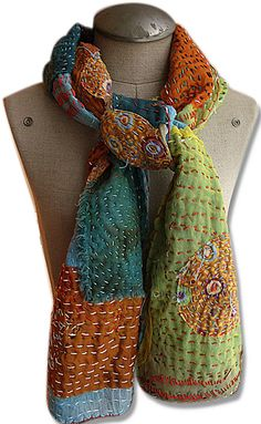 Embroidered and layered scarf tutorial by Sandy Lupton More