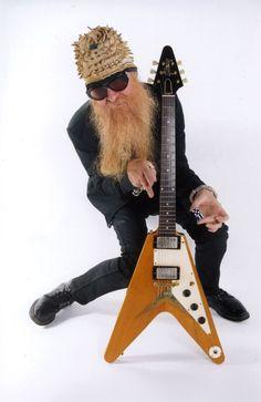 Billy Gibbons with Flying V Billy Gibbons Guitar, Zz Top Billy Gibbons, Frank Beard, Reverend Guitars, Queen Guitarist, Gibson Flying V, Albert King, Famous Guitars, Signature Guitar