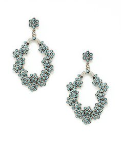 TURQUOISE CLUSTERED FLOWER DROP EARRINGS