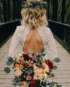 Lace dress and natural florals