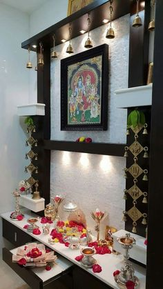 Brass Diyas, Mandir Decoration, Buddha Home Decor, Wood Wall Design, Temple Design For Home, Baby Ganesha, Designer Bangles, Mandir Design, Pooja Mandir