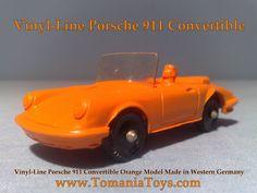** TOM'S TOY & RADIO WORLD TOMANIA **: VINYL-LINE GERMANY Pontiac Convertible, Porsche 911 Cabriolet, Police Radio, Mercedes 190, Oldsmobile Toronado, Big Tractors, Porsche Carrera, Tin Toys, Westerns