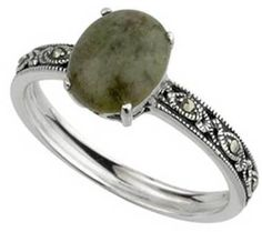 Ladies Oxidised Irish Silver Connemara Marble Celtic Knot Ring