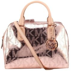 Pre-owned Michael Kors New Grayson Signature Strap Small Rose Gold... ($150) ❤ liked on Polyvore featuring bags, handbags, rose gold, man satchel bag, michael kors satchel, satchel handbags, michael kors bags and handbag satchel