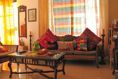 Vibrant Indian Homes - Home Decor Designs - Vidya Sudarsan - Indian Living Rooms Indian Furniture, Home Decor Furniture, Living Room Furniture, Living Room Decor, Diy Home Decor, Hipster Home Decor, Ethnic Home Decor, Indian Home Decor, Indian Home Interior