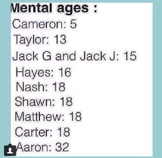 It's so funny that cams the oldest and he's mentally the youngest lol