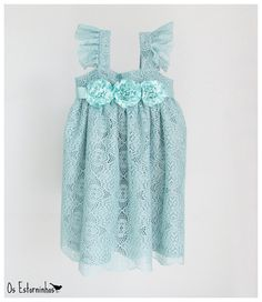 Girls lace Dress - Girls Mint Lace  Dress and satin ribbon flower sash with ruffled sleeves