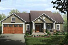 Color rendering of Craftsman home plan (ThePlanCollection: House Plan #141-1081) This one may be our best option yet.