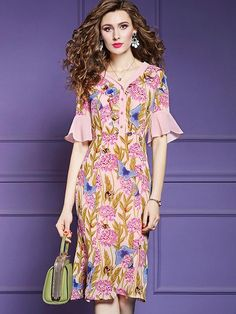 Elegant Floral Pattern Lotus Sleeves Slim A-Line Dress – DressSure Party Dresses Online, Party Dresses For Women, Floral Print Maxi Dress, Elegant Dresses, Women's Dresses, Wedding Dresses, Maxi Dress With Sleeves, Chic Dress, Ladies Dress Design