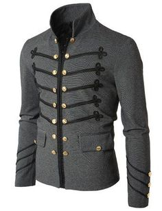 Doublju Mens Jacket with Button Detail steampunkclothing...
