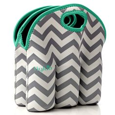 Neoprene 6 Pack Bottle Carrier, Extra Thick Insulated Baby Bottle Cooler Bag Keeps Baby Bottles Cold or Warm Great as Baby Shower Gift (gray chevron aqua trim). CONVENIENT: The l'igloo 6 pack bottle carrier is built to last and is ideal for transporting your drinks. It will keep your drinks safe and cool. The easy to carry handle can also be used to hang on a stroller. It's a great way to transport your drinks and keep them well protected from bumps. NEOPRENE: Made from the same non toxic...