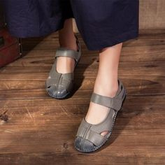 Shoes Women Casual Sandals Genuine Leather Shoes Flat Hand Made Women's Sandals Soft Comfort Ladies Summer Vintage Shoes Size 42 - Cheap Womens Sandals, Womens Flats, Leather Flats, Real Leather, Baskets, Slipper Sandals, Women's Sandals, Vintage Shoes, Fashion Shoes